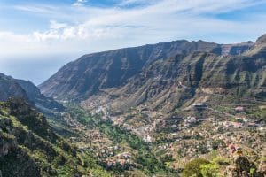 Mountain side view while hiking on La Gomera. The Valle Gran Rey, Canary Island
