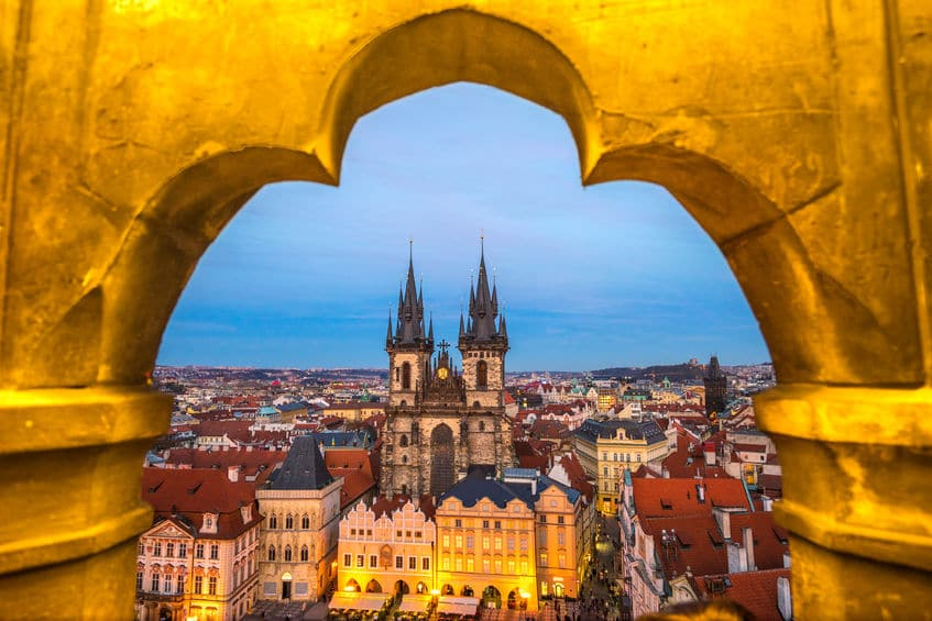 Prague, Tyn Church and Old Town Square in Czech Republic