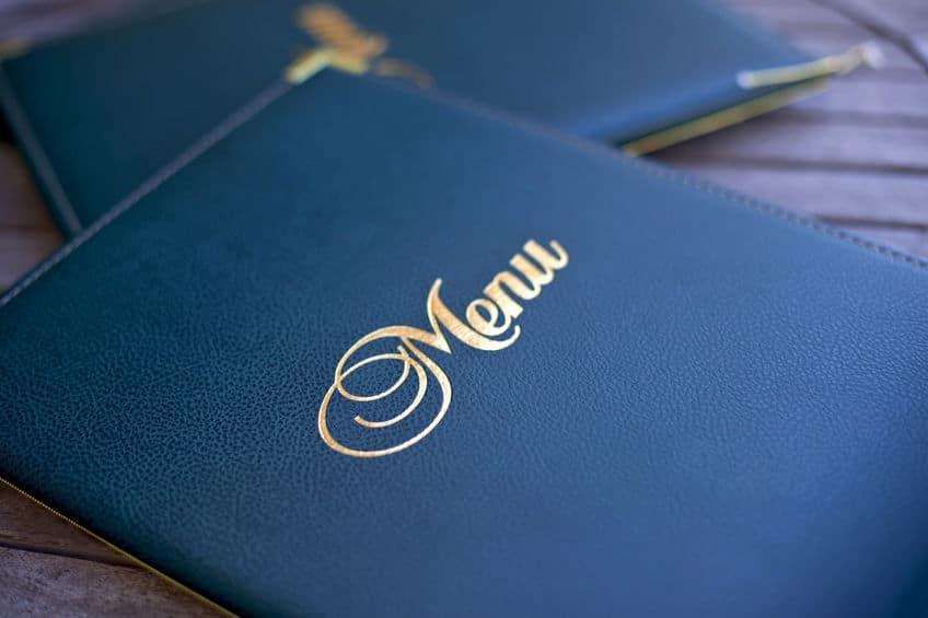 blue leather restaurant menu