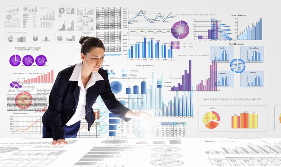 business woman analyzing data