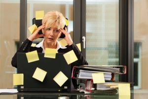 confused career woman having multiple priorities