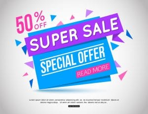 holiday marketing super sale banner showing 50% discount offer