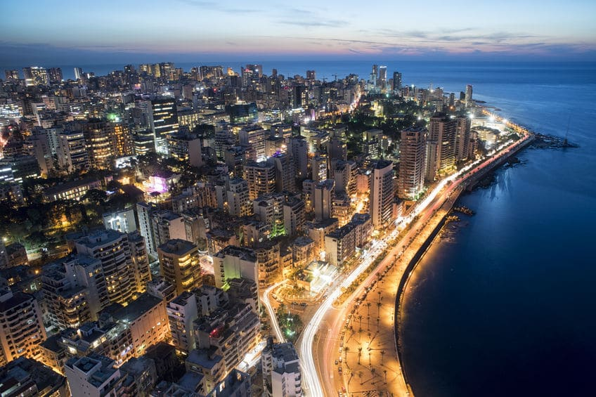 Aerial View of a Coast of Beirut Lebanon