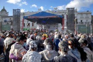 Carnival de Blancos y Negros (Blacks and White Carnival) celebration in Pasto in Colombia