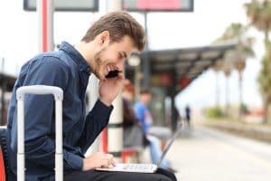 Gig Economy - Freelancer working online while traveling