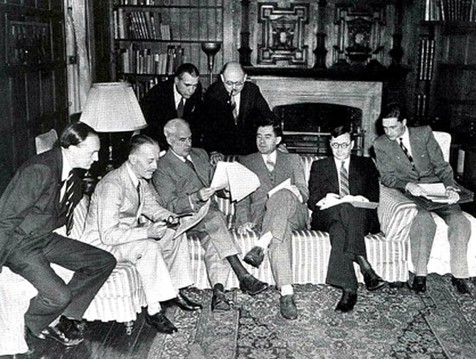 Informal meeting in the Study at Dumbarton Oaks. Seated from left to right - Peter Loxley, Alexander Cadogan, Edward R Stettinius Jr, Andrei Gromyko, Arkady A Sobolev, Valentin M Berezhkov, Standing from left to right - James Clement Dunn, Leo Pasvolsky National Archives Washington DC 1944