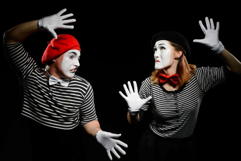 Mimes hit invisible wall performance during London International Mime Festival