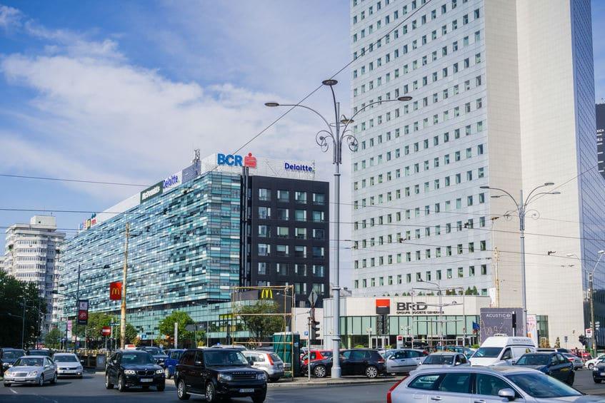 Office buildings in Victory Square (Piata Victoriei) Bucharest Romania