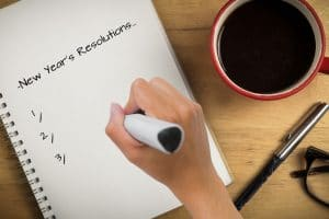 making a list of new years resolution while having coffee