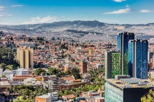 Aerial View of Bogota the capital city of Colombia South America