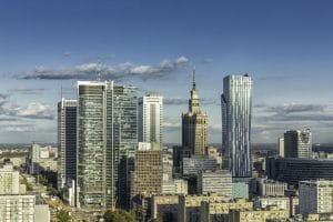 Aerial view of buildings in Warsaw Poland