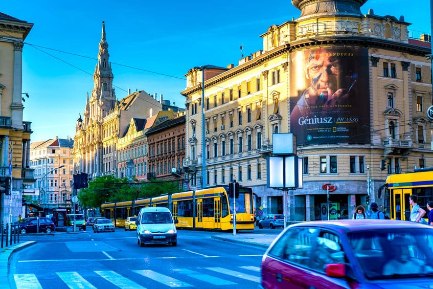 Busy street of Blaha Lujza square in Budapest, in Hungary