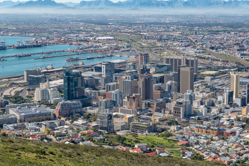 aerial view of the harbor and Central Business District of Cape Town Africa