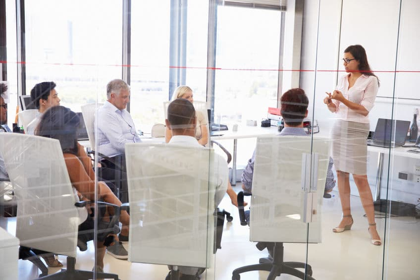 business leadership being shown in a business meeting