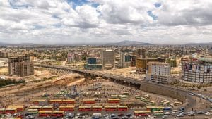 Aerial image of city of Addis Ababa Ethiopia