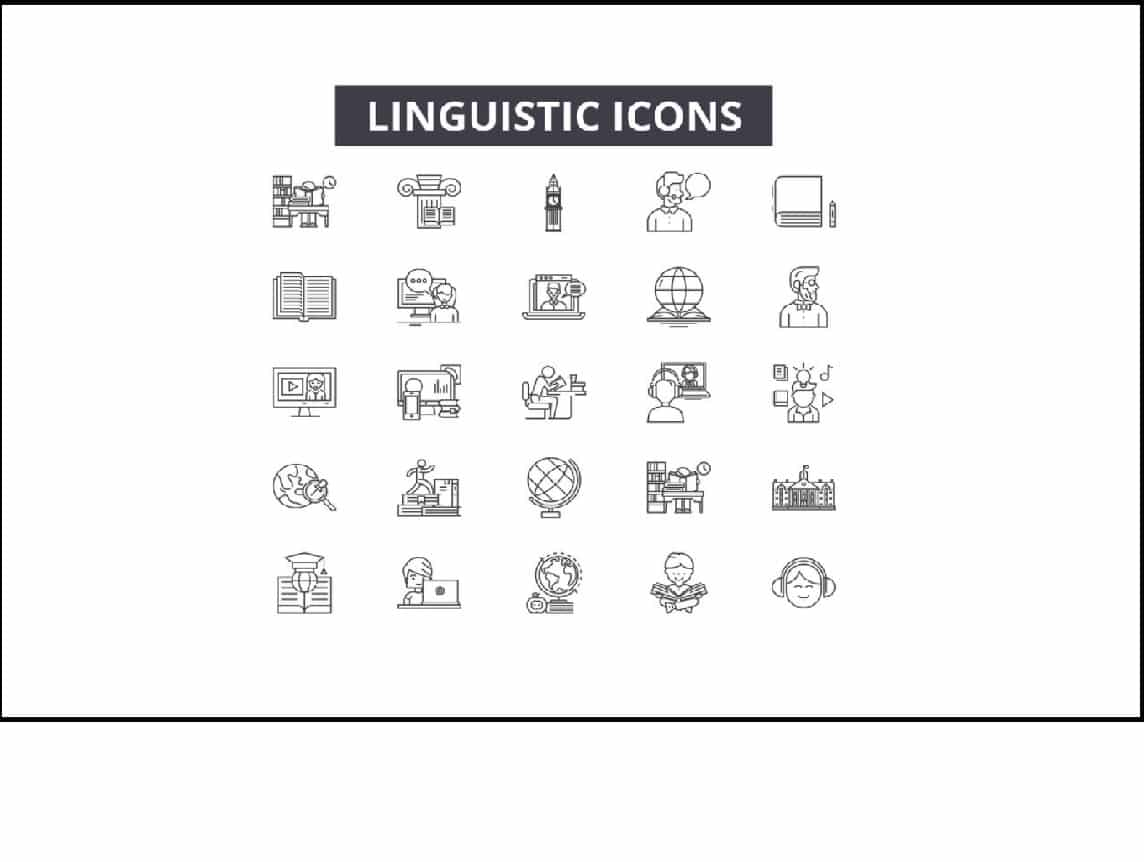 Icon set with types of software for linguistic testing