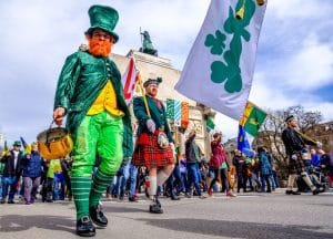 People celebrating the annual national irish holiday St. Patricks day