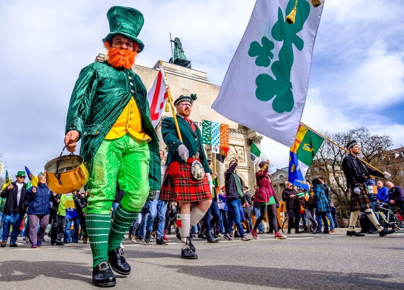 People celebrating the annual national irish holiday St. Patricks day