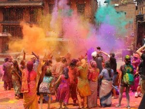 celebration of the Holi festival in the streets of India