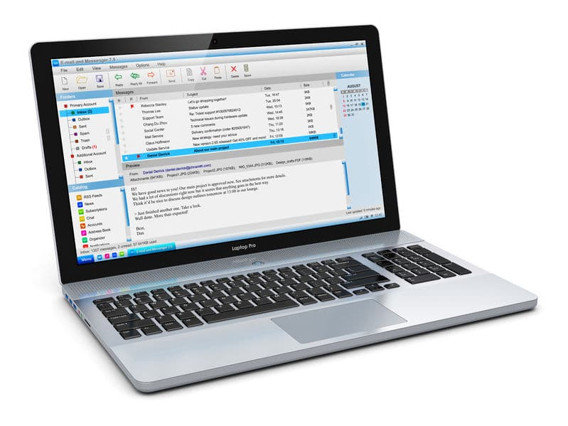 laptop showing an outlook express email client