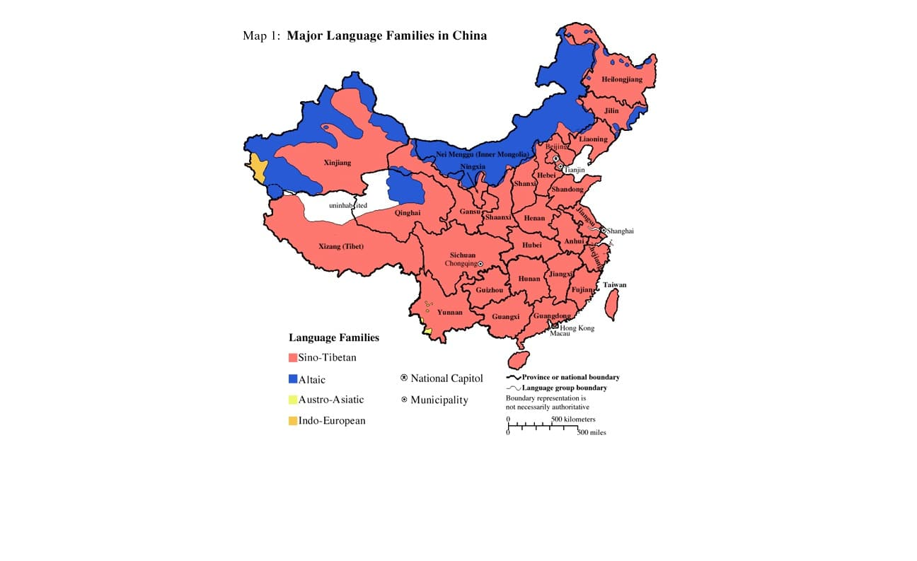 map of the major languages spoken in China