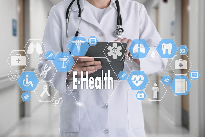 E-Health word in Medical network connection Virtual Screen