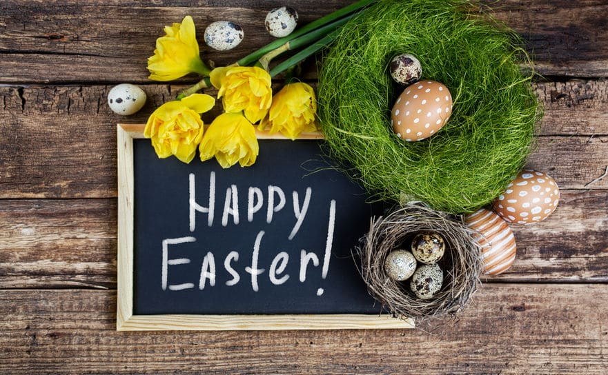 Happy Easter Greeting with Easter Eggs
