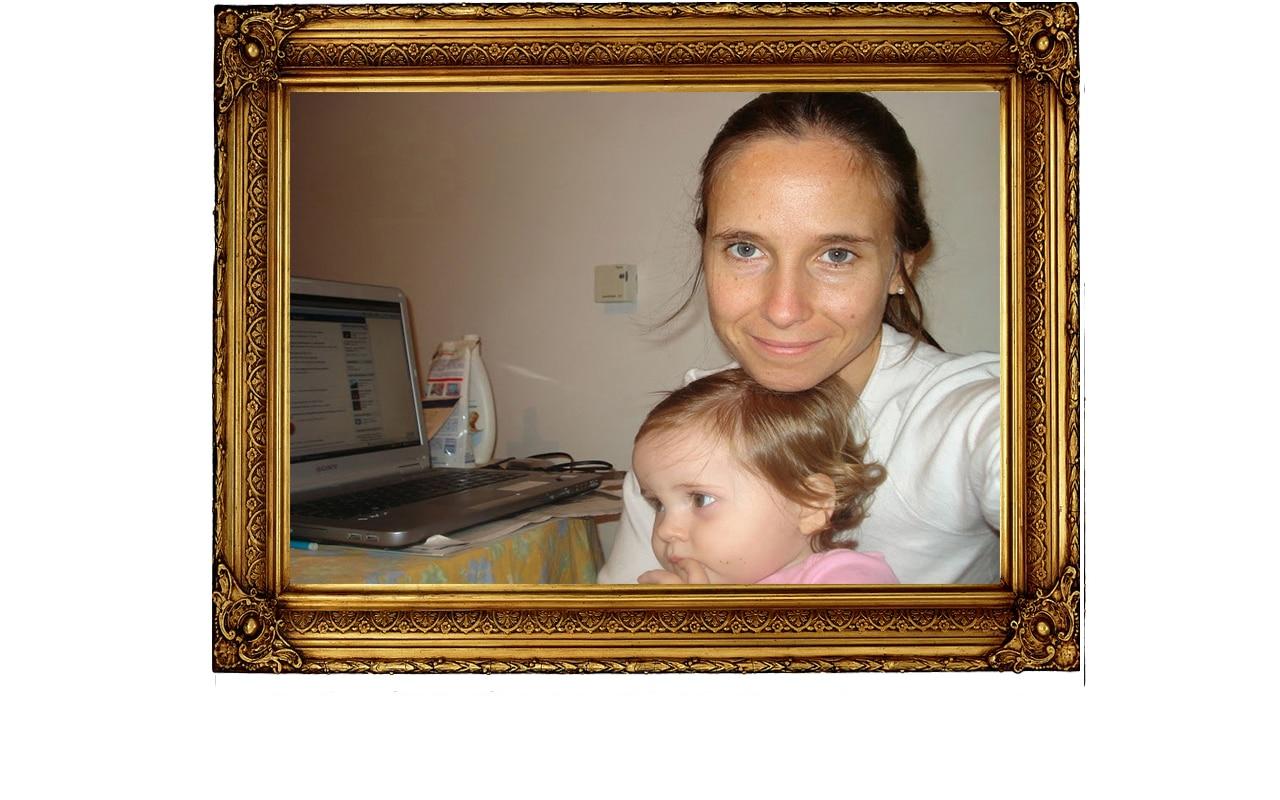 Translator Job perks María Lucila Galleto with her baby