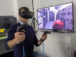 man using virtual reality gadgets