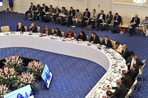 Political interpreting in action during Tour de Table Foreign Affairs Council Trade informal meeting of trade ministers