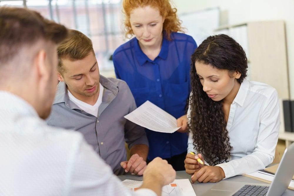 business interpreting team solving a problem