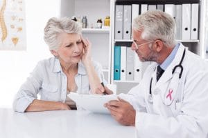 senior patient needing interpreting service to understand medical results discussed by a doctor