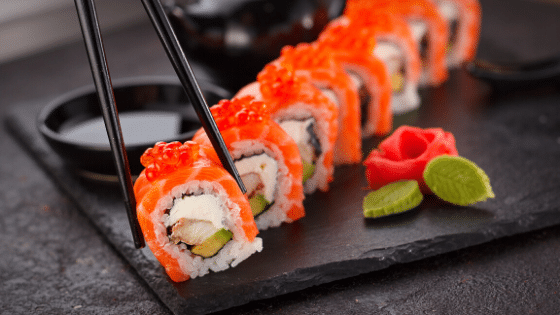 sushi-in-plate-and-chopsticks