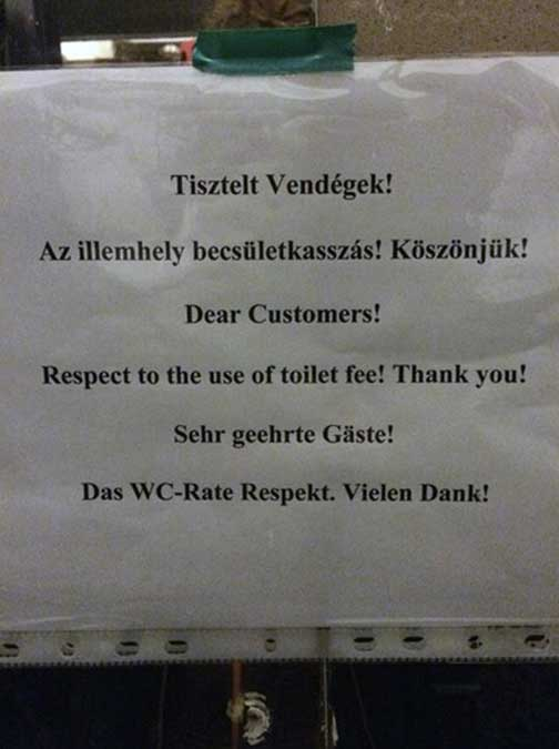Mistranslation of a Toilet Sign