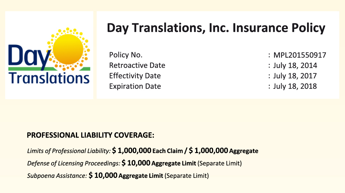 Day Translations Insurance Policy