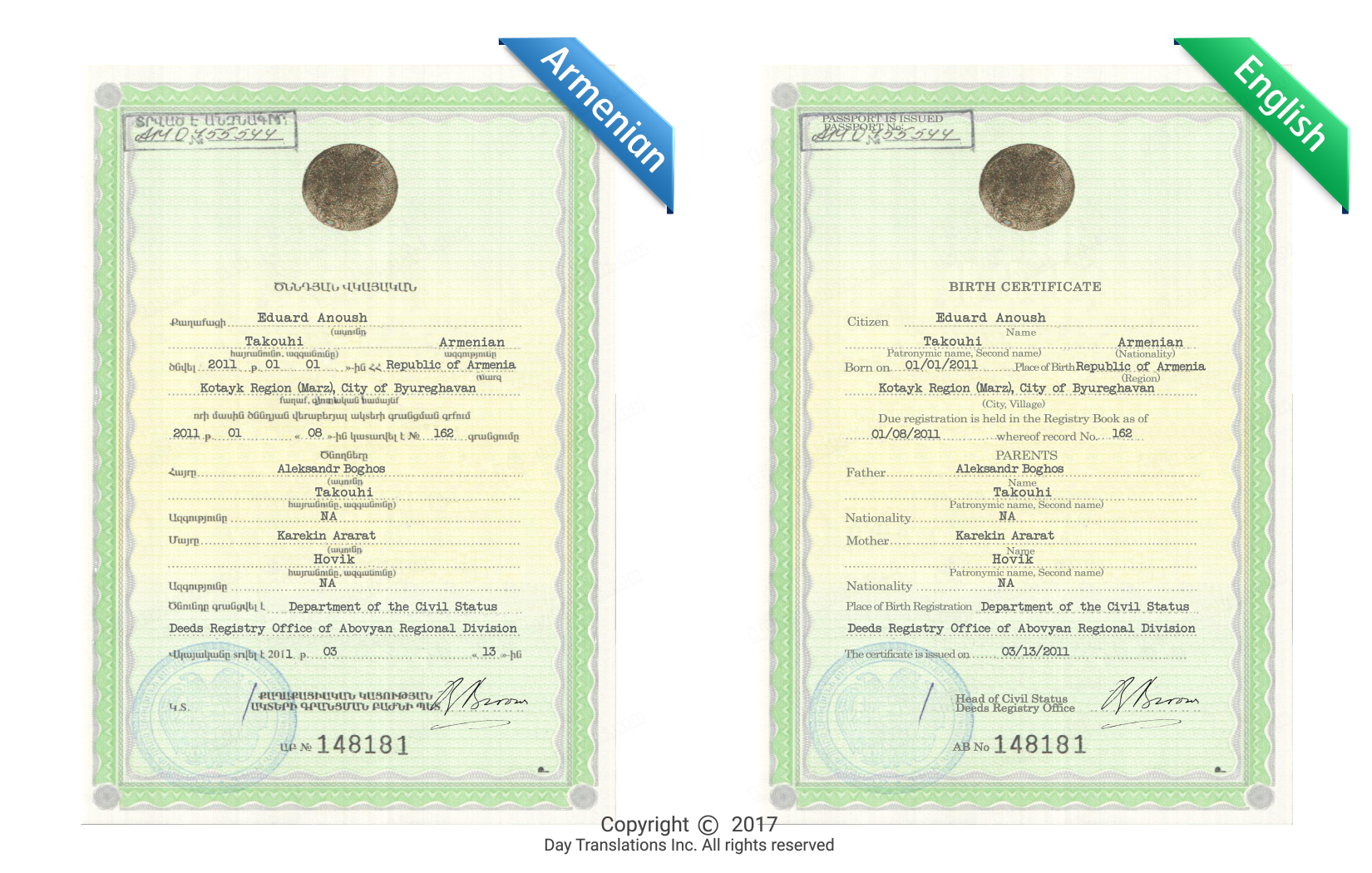 Armenian translation services from day translations see a real example of a certified translation 1betcityfo Image collections