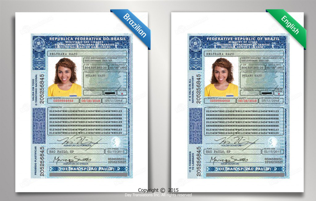 Brazilian to English Driving License Sample