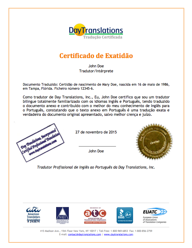 Certificate of Accuracy - Portuguese Sample