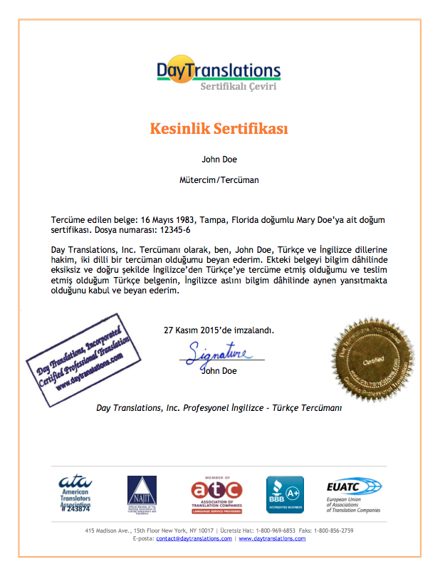 Certificate of Accuracy - Turkish Sample