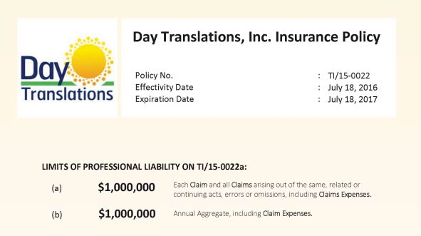 DayTranslations Insurance Policy 2016