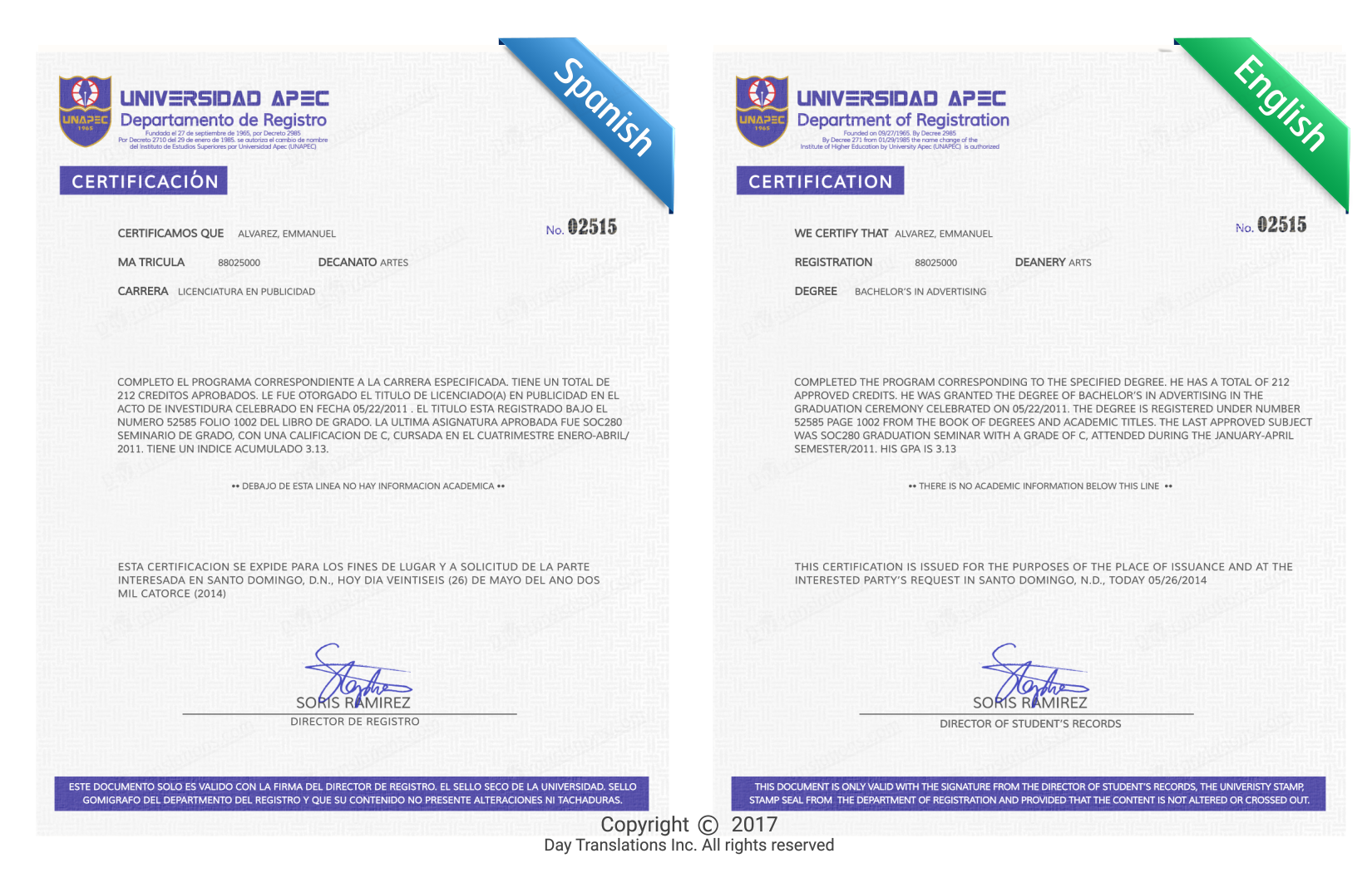 Certified Translation Document Sample