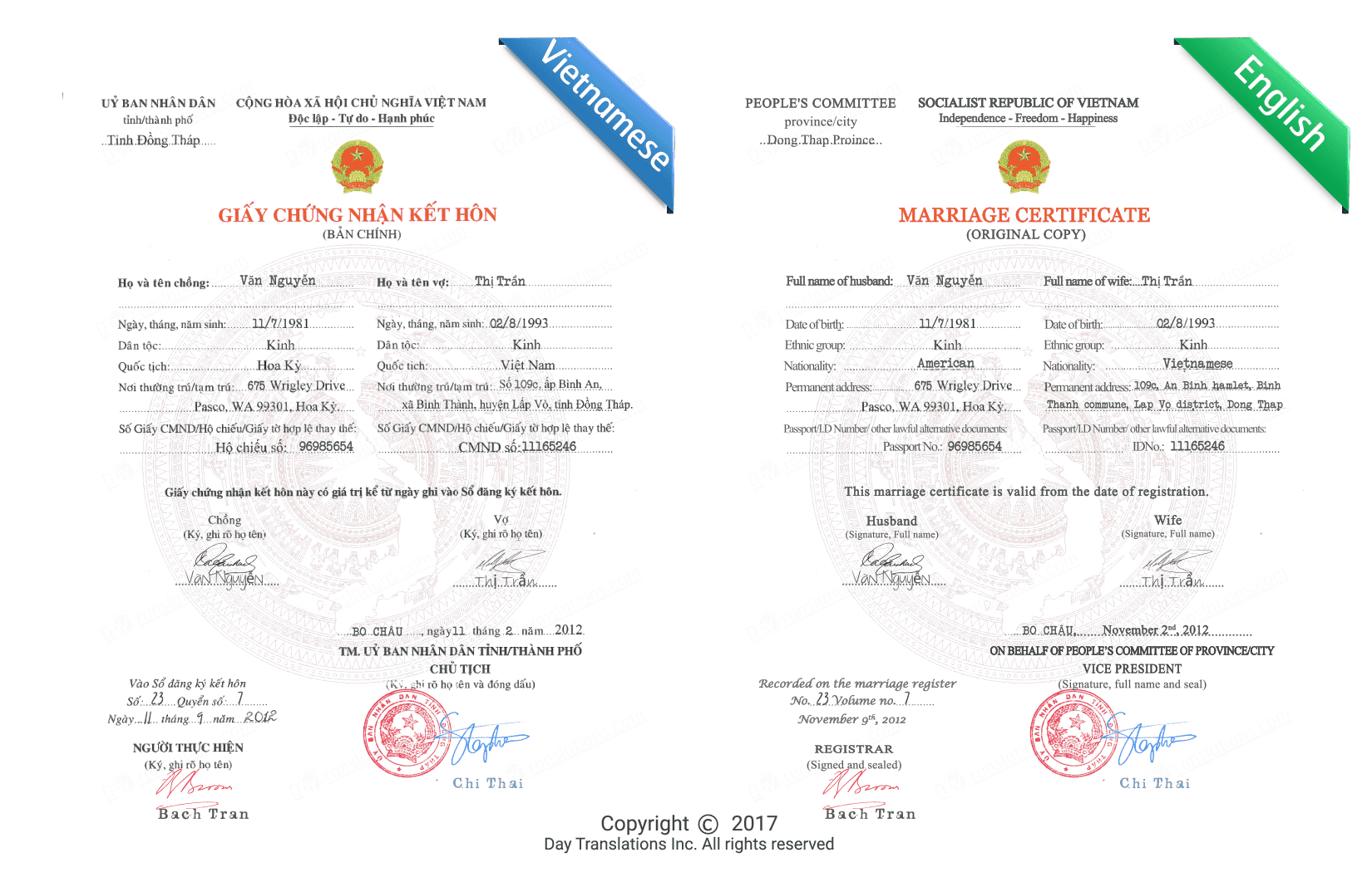 Vietnamese To English Certified Sample