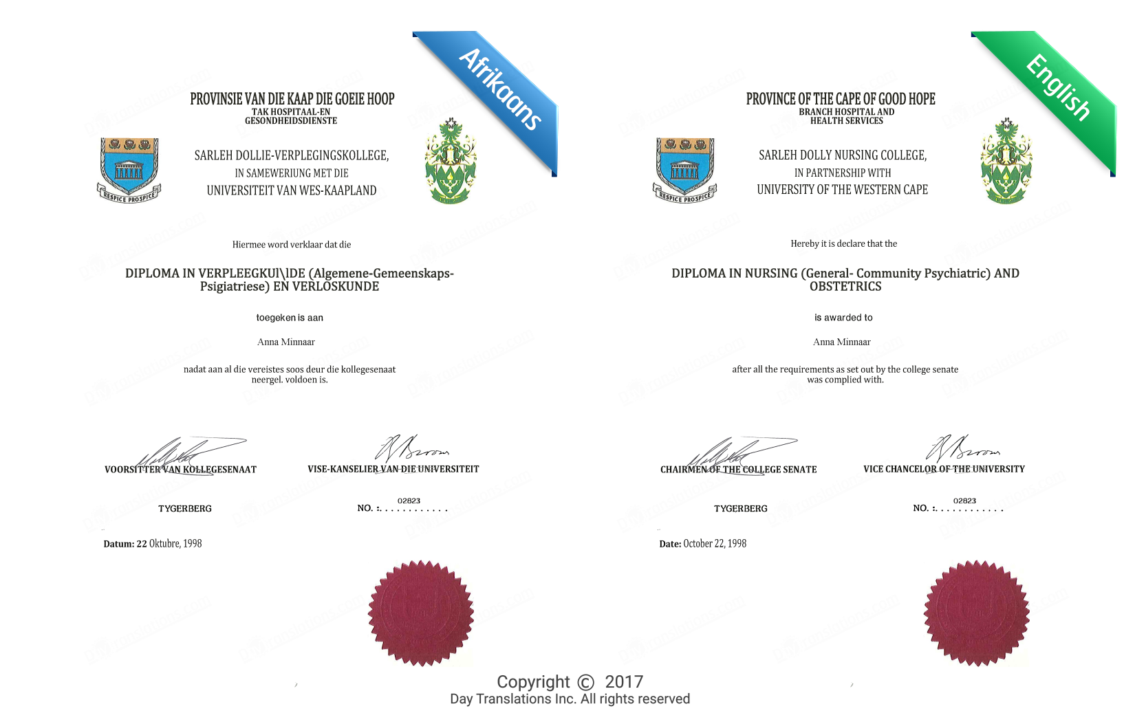afrikaans to english certified document translation sample
