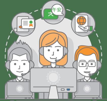 translation and interpretation team ilustration