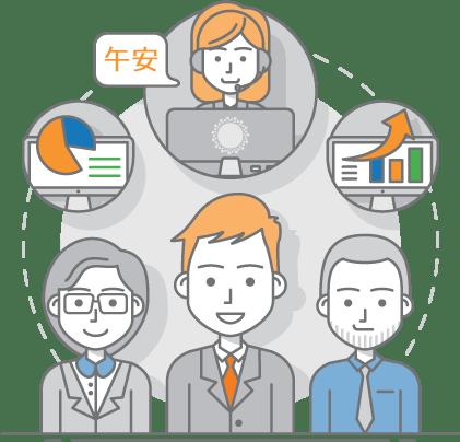 translation and interpretation multicultural team illustration