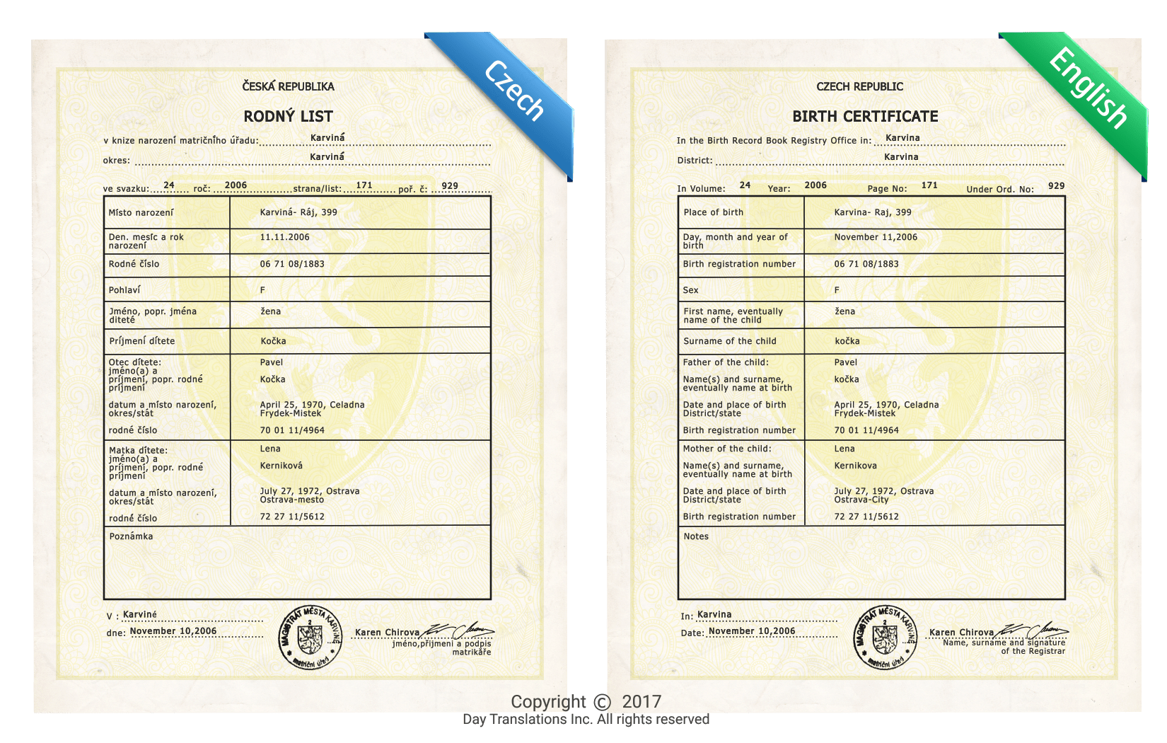 certified czech to english birth certificate translation sample