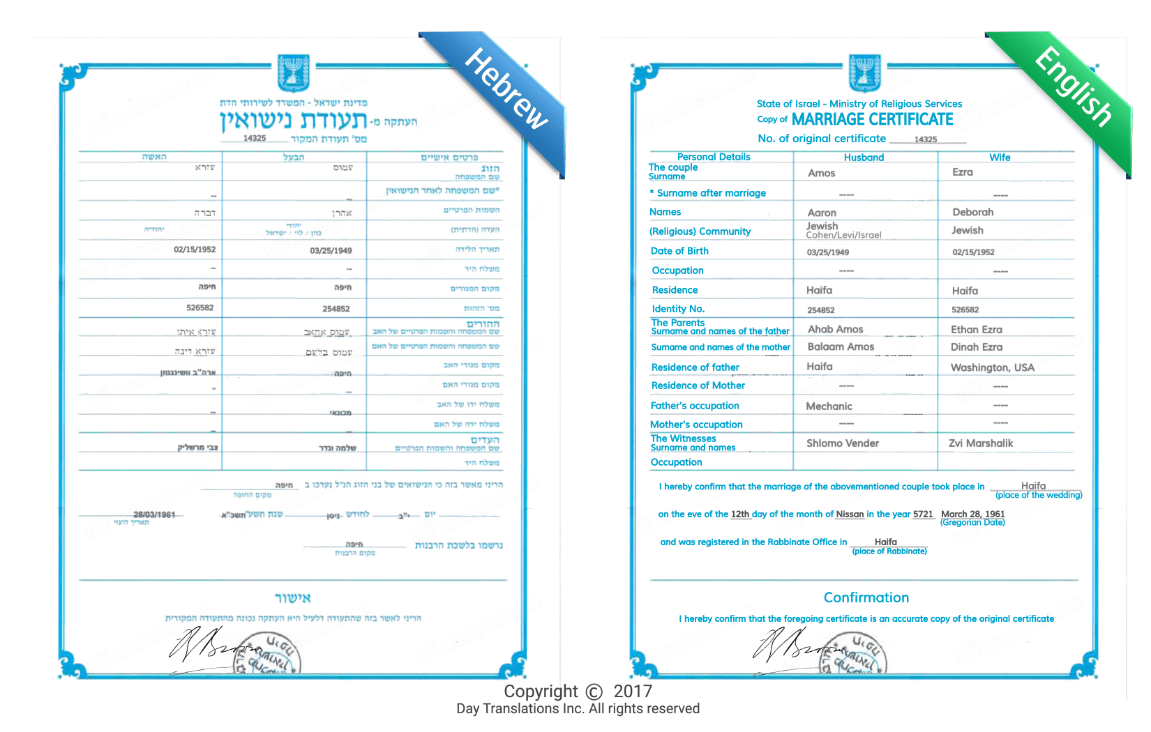 hebrew english certified sample