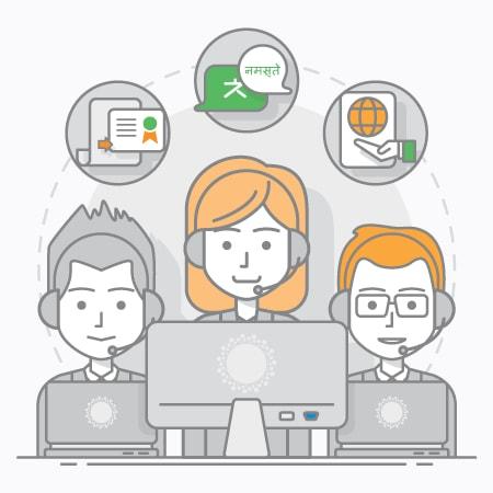 translation and interpretation team illustration