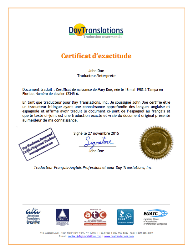 French Sample Certificate of Accuracy