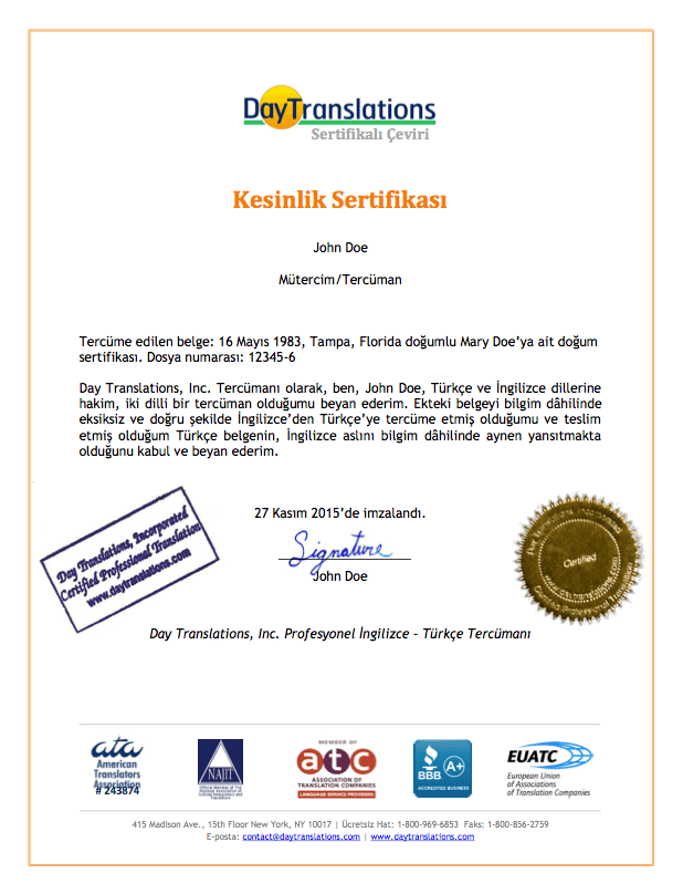 Turkish Sample Certificate of Accuracy